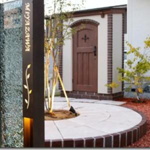 プレミアム門柱 H鋼+ガラスパネル